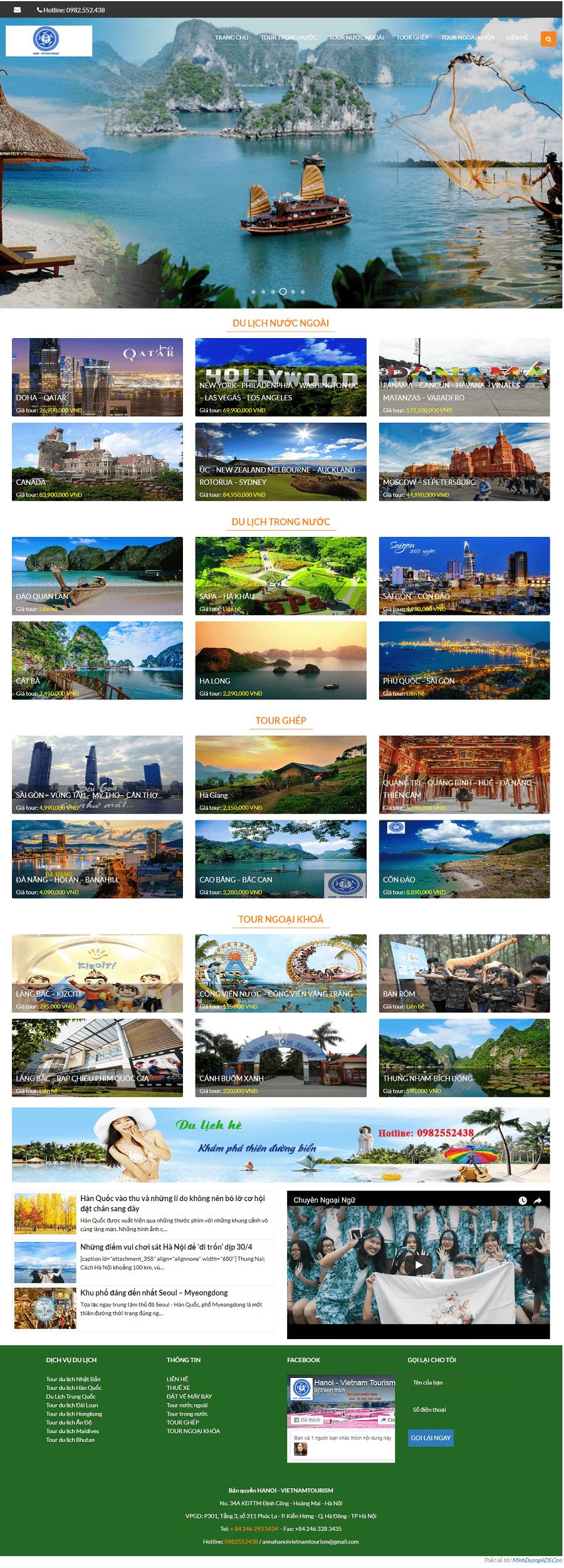 web du lịch hà nội tours