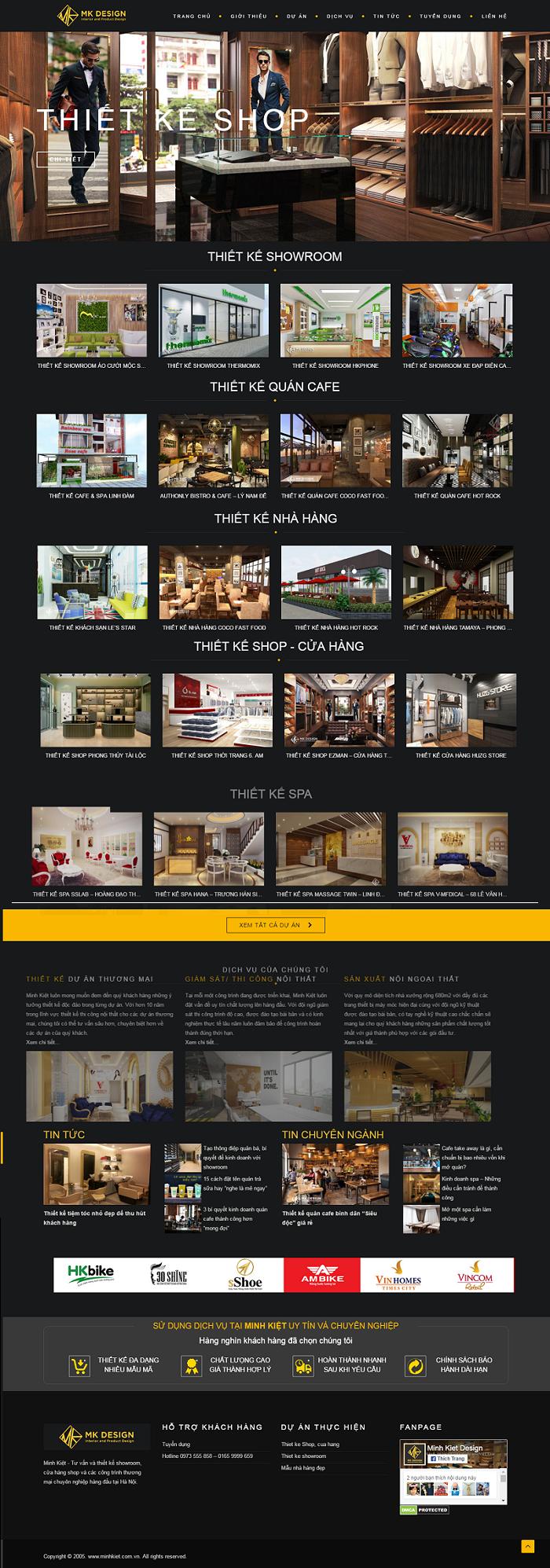 Web thiết kế nội thất Minh kiệt