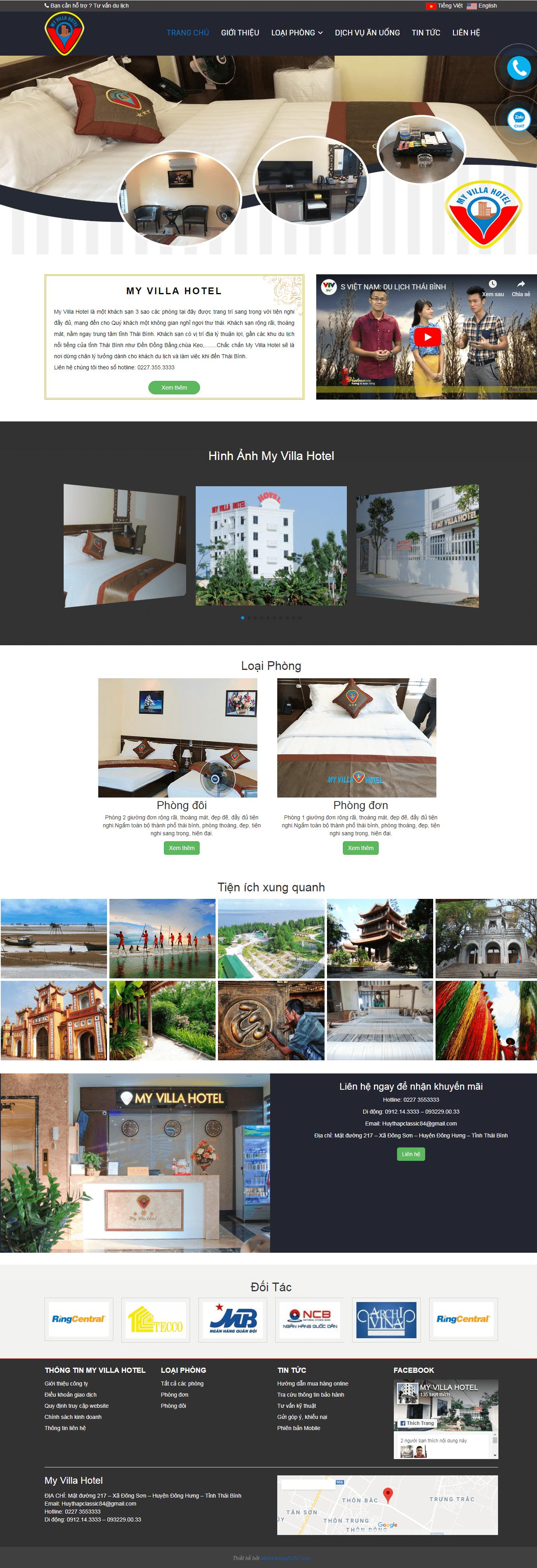 Thiết kế web khách sạn My villa