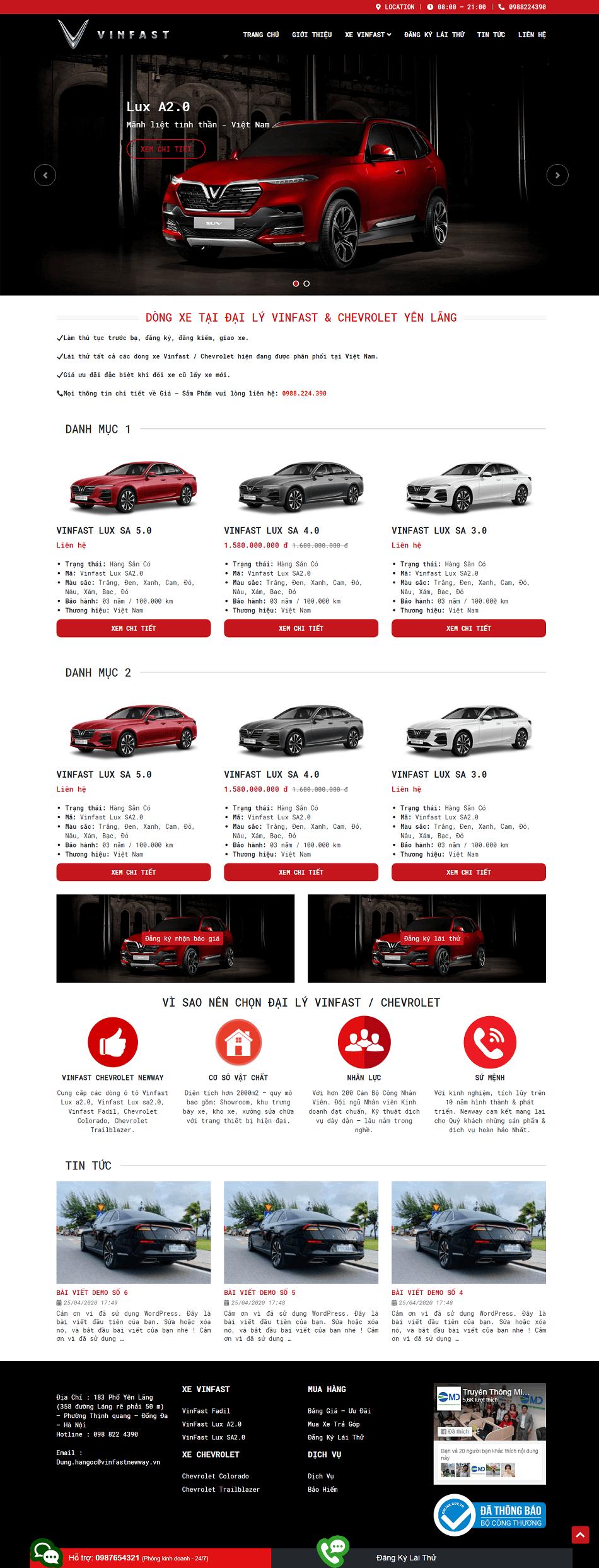 Web ô tô vinfast mới