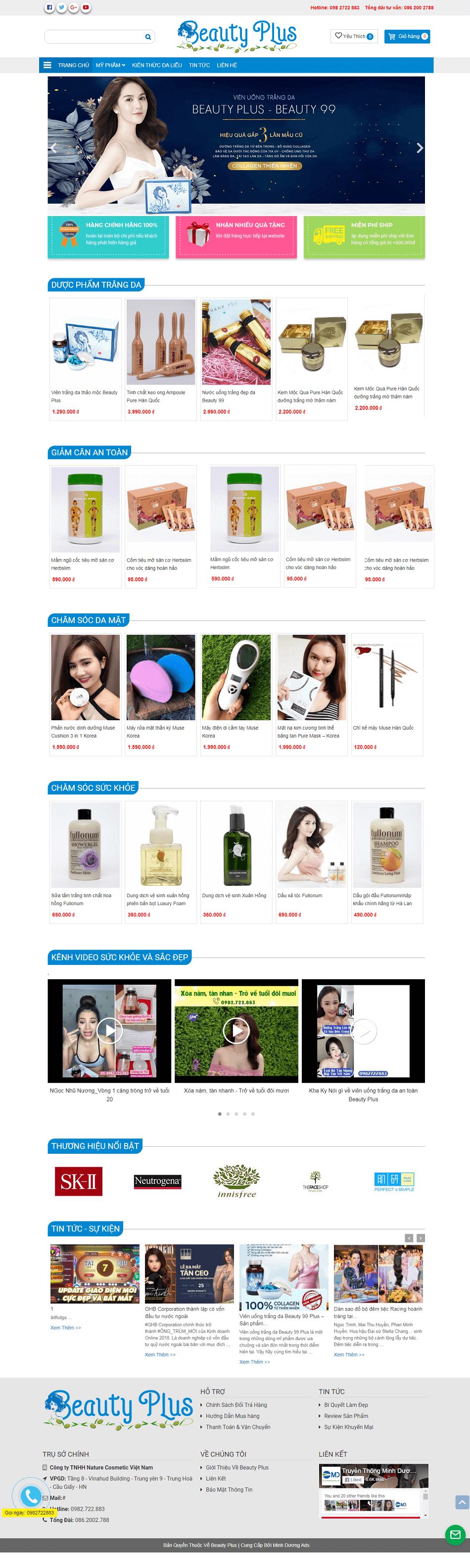Web mỹ phẩm Beauty