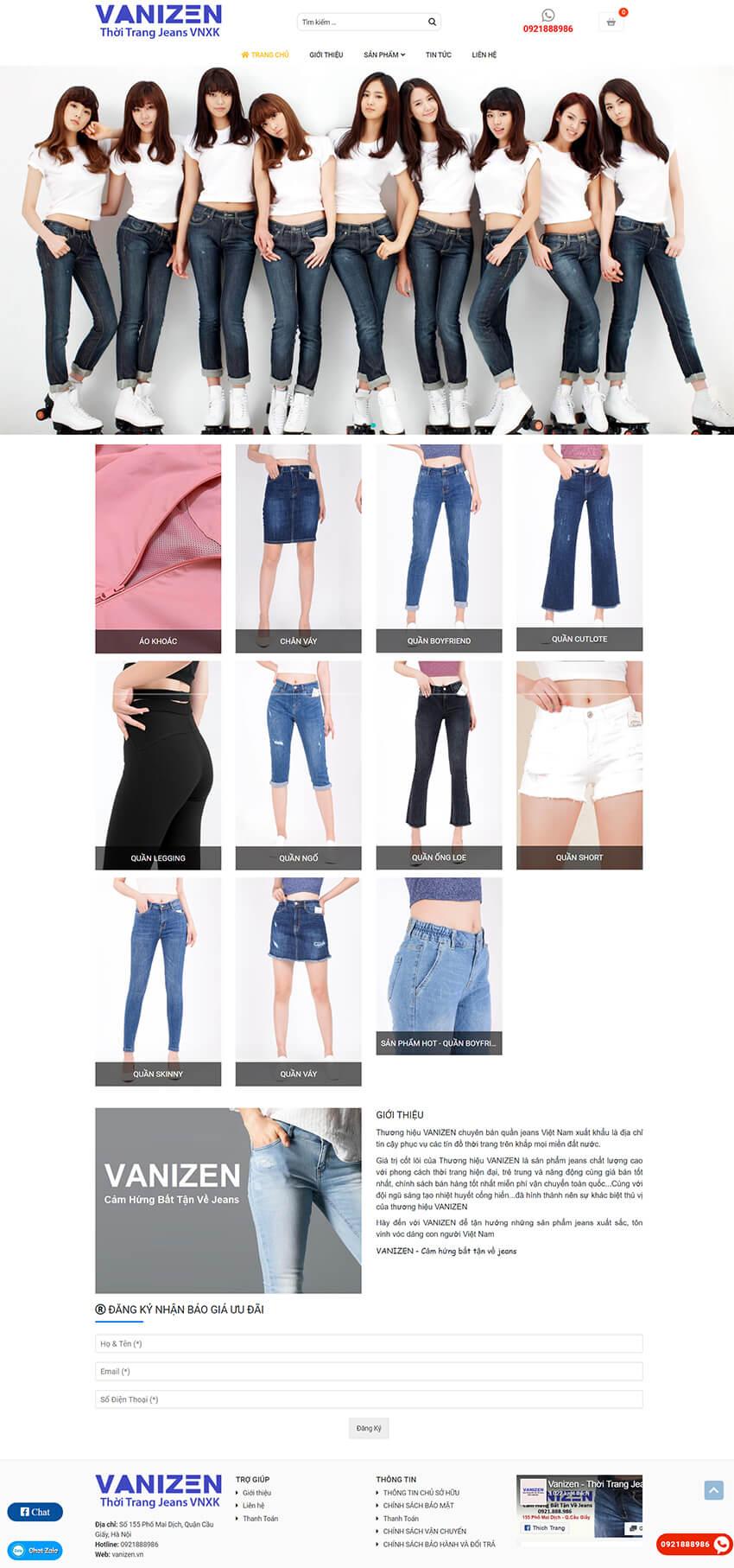 Web thời trang Vanizen